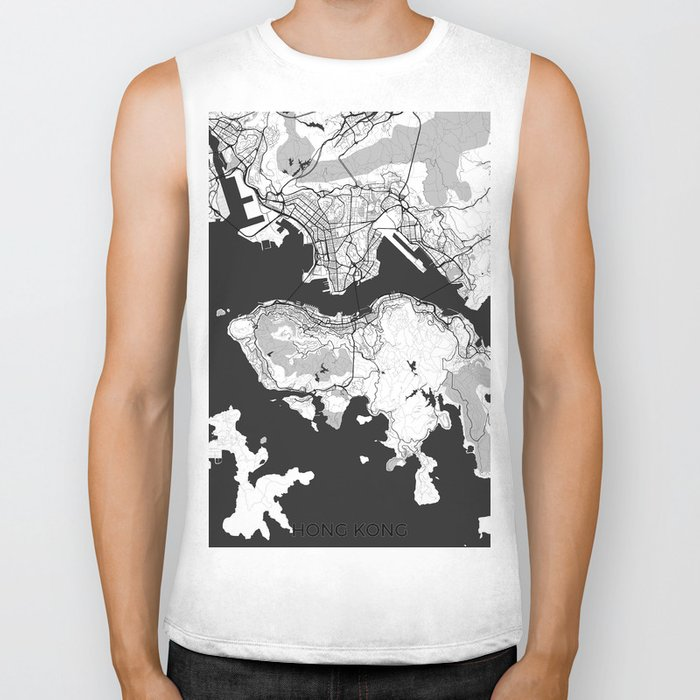 Hong Kong Map Gray Biker Tank