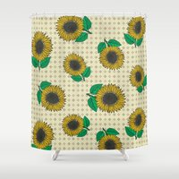 sunflower Shower Curtains featuring Sunflower by Vickn