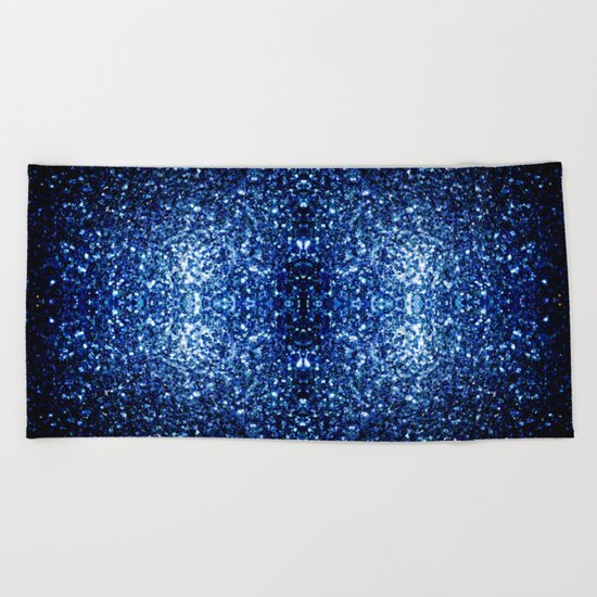 Beautiful Dark Blue glitter sparkles Beach Towel