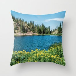 Yellow Flower Lake // Beautiful Daylight Evergreen Mountain Landscape Photograph Throw Pillow