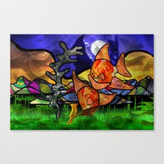 Doodlage 02 - As the fishes swim Canvas Print
