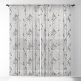 Dart Frogs Sheer Curtain