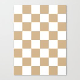 Large Checkered - White and Tan Brown Canvas Print
