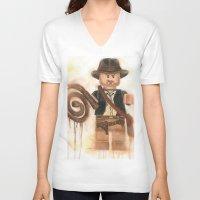 indiana jones V-neck T-shirts featuring Indiana Jones Lego by Toys 'R' Art