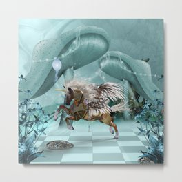 Wonderful steampunk unicorn Metal Print