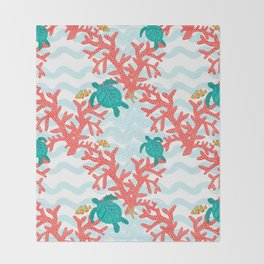 Clowning Around With Sea Turtles on The Reef Throw Blanket