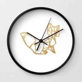 Origami Fox (gold) Wall Clock
