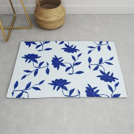 Midnight Navy Blue Flora Rug