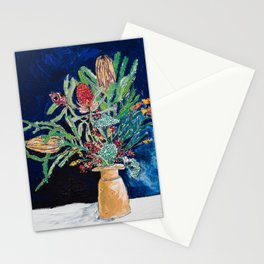 Yellow and Red Australian Wildflower Bouquet in Pottery Vase on Navy, Original Still Life Painting Stationery Cards