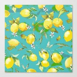Watercolor lemons 3 Canvas Print