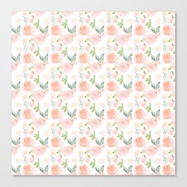 Blush pink orange watercolor hand painted roses floral Canvas Print