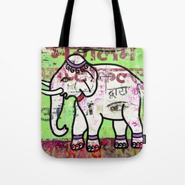 Indian elephant, green and pink exotic animal Tote Bag