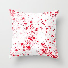 Red and White Splattern Abstract Print Throw Pillow