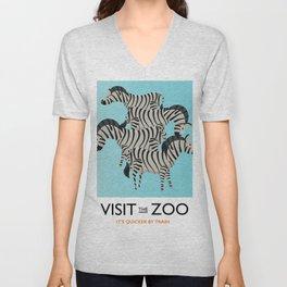 Visit the Zoo Zebra Unisex V-Neck