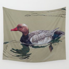 Red Crested Pochard (Netta Rufina) Colored Pencils Artwork Wall Tapestry