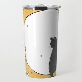 Black Cat on the Moon Travel Mug