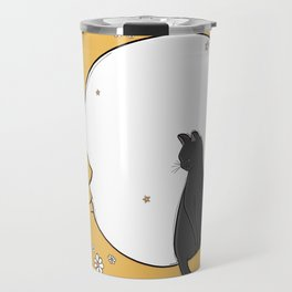 Black Cat on the Moon Travel Mug