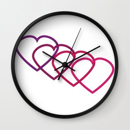 Interlocking Purple Hearts Wall Clock