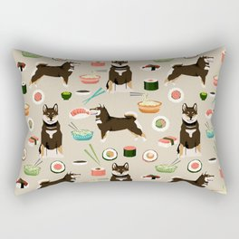 shiba inu sushi black and tan dog breed pet pattern dog mom Rectangular Pillow