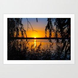 sundown at a lake Art Print