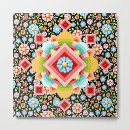 Geometric Chintz Mandala Metal Print