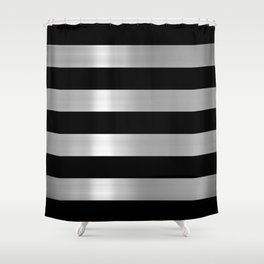 Black Silver Metallic Stripes Shower Curtain