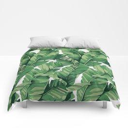 Tropical banana leaves VI Comforters