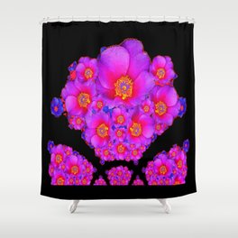 Colorful Purple-Red Fuchsia Flowers Black Modern Art Design Abstract Shower Curtain