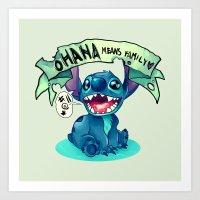ohana Art Prints featuring Ohana by KanaHyde