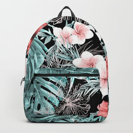 Black & Rose Gold Pink Island Paradise Backpack