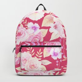 Modern magenta blush pink white watercolor roses floral Backpack