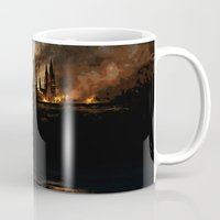 harry potter Mugs featuring Harry Potter - Hogwart's Burning by Juniper Vinetree