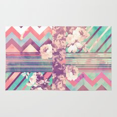 Retro Pink Turquoise Floral Stripe Chevron Pattern Rug