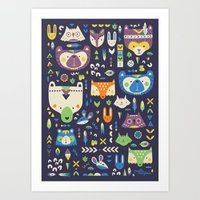 wild things Art Prints featuring Wild Things by Paula McGloin Studio
