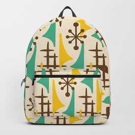 Retro Mid Century Modern Atomic Wing Pattern 427 Brown Yellow and Green Backpack
