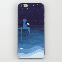 Boy with paper boats, blue iPhone Skin