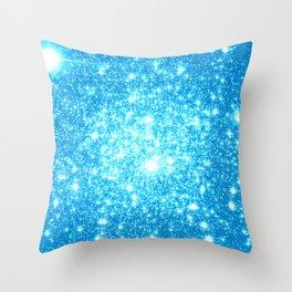 Sky Blue Sparkle Stars Throw Pillow