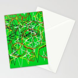 Geometric green star Stationery Cards