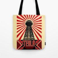 tesla Tote Bags featuring Tesla by Octavia Soldani