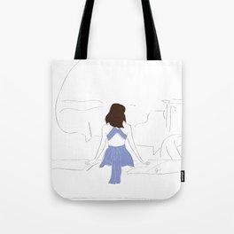 Santorini Wanderlust Fashion Girl Tote Bag