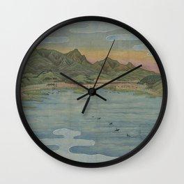 Lake view 2. Ukiyoe Landscape Wall Clock