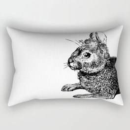 The Rabbit and Roses | Vintage Rabbit with Flower Crown | Rabbit Portrait | Bunny | Black and White Rectangular Pillow