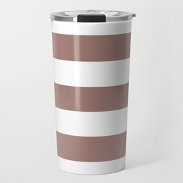 Burnished brown - solid color - white stripes pattern Travel Mug