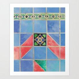 Fredericksburg Texas Vintage Ceramic Tile Pattern - Blue & Red Art Print