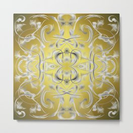 silver Digital pattern with circles and fractals artfully colored design for house and fashion Metal Print