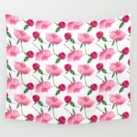 peonies Wall Tapestries featuring Peonies by Inna Moreva
