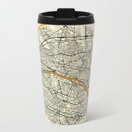 Paris Map Moon Metal Travel Mug
