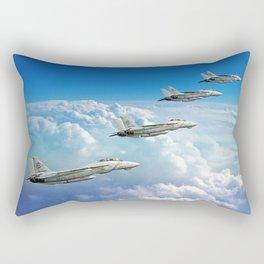 Silver on Blue Rectangular Pillow
