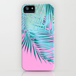 Palm Leaves Pink Blue Vibes #1 #tropical #decor #art #society6 iPhone Case