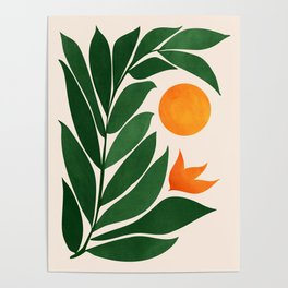 Tropical Forest Sunset / Mid Century Abstract Shapes Poster